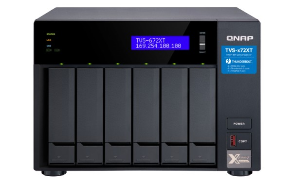 QNAP TVS-672XT-i3-8G 6-Bay 50TB Bundle mit 5x 10TB Gold WD102KRYZ