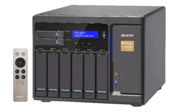 Qnap TVS-882T-i5-16G 3.6GHz Thunderbolt 8-Bay NAS 48TB Bundle mit 6x 8TB WD80EFZX WD Red