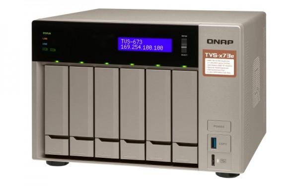 Qnap TVS-673e-64G QNAP RAM 6-Bay 24TB Bundle mit 2x 12TB Gold WD121KRYZ