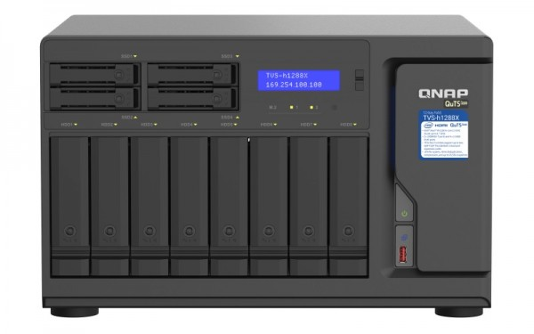 QNAP TVS-h1288X-W1250-128G QNAP RAM 12-Bay 40TB Bundle mit 4x 10TB Gold WD102KRYZ