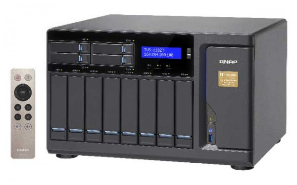 Qnap TVS-1282T-i7-32G 3.4GHz Thunderbolt 12-Bay NAS 64TB Bundle mit 8x 8TB ST8000VN0022 IronWolf